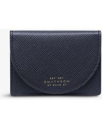 Smythson Panama Moon Leather Coin Purse - Blue