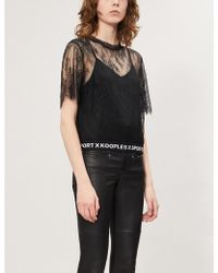 The Kooples Round-neck Sheer Cropped Stretch-lace T-shirt - Black