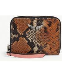 Zadig & Voltaire Wild Mini Snakeskin-effect Leather Purse - Brown