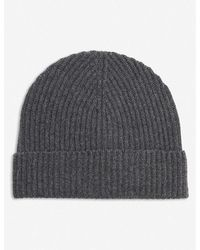 Johnstons Ribbed Cashmere Beanie Hat - Black