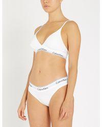 883da7251bf69e Calvin Klein - Modern Cotton Ribbed Stretch-cotton Triangle Bra - Lyst