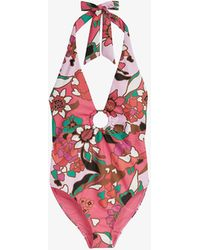 Ted Baker Pinata Floral-print Plunge Swimsuit - Pink