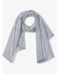 The White Company Striped Linen-blend Scarf - Blue