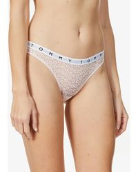 Tommy Hilfiger Pack Of Three Branded Floral-embroidered Mid-rise Stretch-lace Briefs - Multicolour