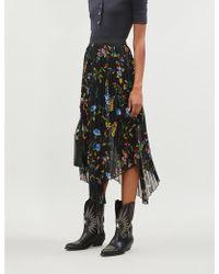 Maje Jeudi Graphic-pattern Crepe Midi Skirt - Black