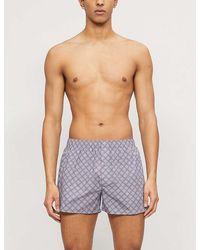 Hanro Striped Cotton-jersey Boxers - Blue