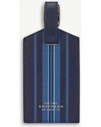 Smythson Navy Blue Stripe Bond Leather Luggage Tag
