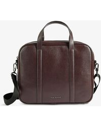 Ted Baker Strath Saffiano Leather Document Bag - Brown