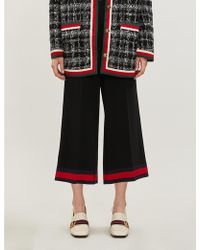 Gucci Web-stripe Wide-leg Cropped Stretch-cady Pants - Black