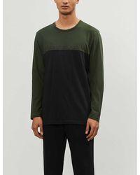 Calvin Klein Color Block Cotton-jersey Pajama Top - Green