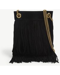 Saint Laurent Grace Fringed Mini Suede Hobo Bag - Black