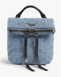 Zadig & Voltaire Romy Quilted Denim Mini Backpack - Blue