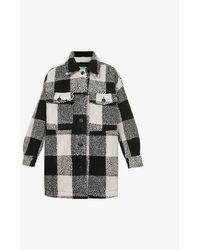 Benetton Check Oversized Woven Jacket - Grey