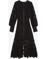 The Kooples V-neck Paisley Lace Maxi Dress - Black