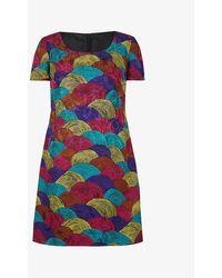 Beyond Retro Pre-loved Graphic-print Crepe Midi Dress - Multicolour