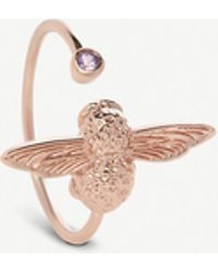 Olivia Burton - Bejewelled Bee 18ct Rose-gold And Amethyst Ring - Lyst