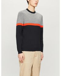 Ted Baker Striped Stretch-knit Jumper - Blue