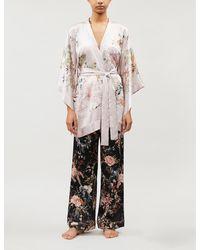 Meng Floral-pattern Silk-satin Kimono - Pink