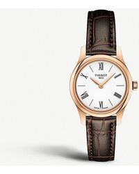 Tissot - T063.009.36.018.00 Tradition Rose-gold Plated And Leather Quartz Watch - Lyst