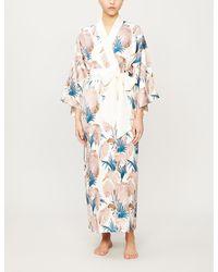 Olivia Von Halle Queenie Floral-print Silk Kimono - Multicolour