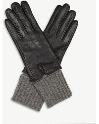 Sandro - Wool And Cashmere Panelled Leather Gloves - Lyst