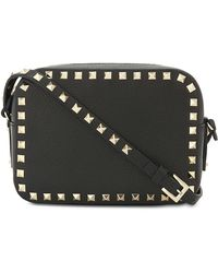 Valentino Women's Black Rockstud Leather Camera Cross-body Bag