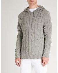 Ralph Lauren Purple Label - Cable-knit Cashmere Hoody - Lyst