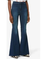 Free People Just Float On Flared Slim-fit High-rise Jeans - Blue