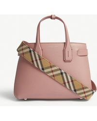 12955b86f5ee Burberry - Dusty Rose Pink Check New Banner Small Grained Leather Tote Bag  - Lyst