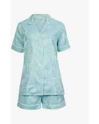 Derek Rose Paris Cotton Pyjama Set - Blue