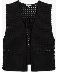 Claudie Pierlot Organic Cotton Open Crochet Knit Sleeveless Cardigan - Black