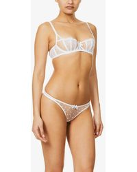 Agent Provocateur Brie Polka-dot Mid-rise Mesh Thong - White