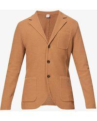 Eleventy Notch-lapels Dropped-shoulder Cotton Blazer - Multicolour