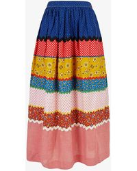 Beyond Retro Pre-loved Pete Thousand Patchwork High-waist Cotton-blend Midi Skirt - Multicolour