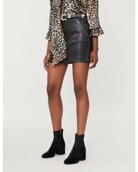 Maje - Jerto Western-inspired Leather Mini Skirt - Lyst