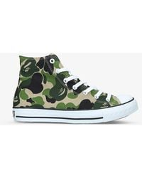 A Bathing Ape Bape Sta Camouflage-print Leather High-top Trainers - Green