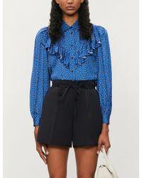 Maje Ilona Paisley-print Satin Shirt - Blue