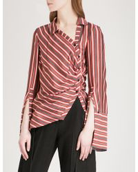 Hellessy Wyatt Striped Silk And Cotton-blend Shirt - Multicolour