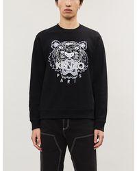 KENZO Logo-embroidered Cotton-jersey Sweatshirt - Black