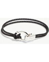 Ferragamo - Woven Leather Gancio Bracelet - Lyst
