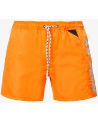 Replay Logo-print Relaxed-fit Woven Swim Shorts - Orange