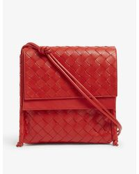 Bottega Veneta Small Bv Fold Intrecciato Leather Cross-body Bag - Red