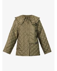 Ganni Oversized-collar Recycled-polyester Jacket - Green