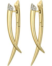 Shaun Leane | Crossover Tusk Yellow Gold Vermeil And Diamond Earrings | Lyst