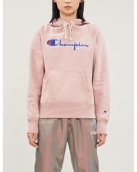 Champion Logo-embroidered Cotton-jersey Hoody - Pink