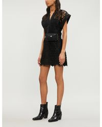 b3df219ffe Sandro Janegenie Lace And Crepe Dress in Black - Lyst