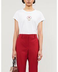 Sandro Graphic-print Cotton-jersey T-shirt - White