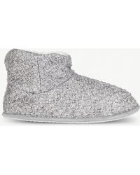 The White Company Bouclé-knit Slipper Boots - Gray