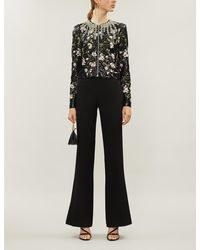 Giambattista Valli Floral Embroidered Sequin-embellished Silk-blend Jacket - Black