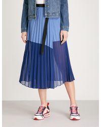 Sandro Contrast-panel Pleated Cotton-blend Skirt - Blue